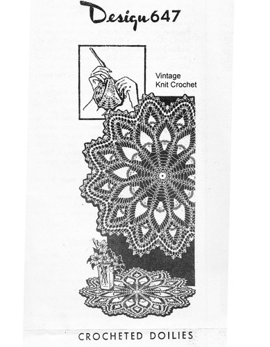 Crochet Wheel Doily Pattern, Pineapples, Mail Order Design 647