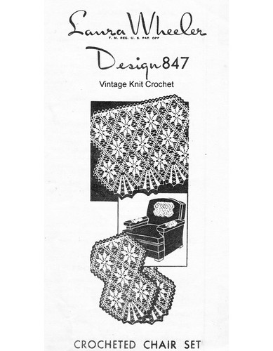 Vintage Crochet Chair Set Pattern, Laura Wheeler 847