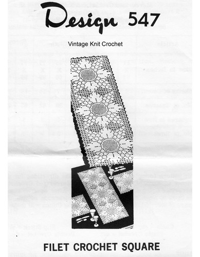 Grape Filet Crochet Tablecloth Pattern, Mail Order 547