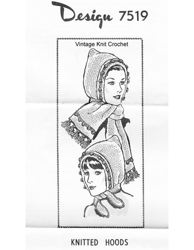 Knitted Hoods Pattern, Mail order 7519