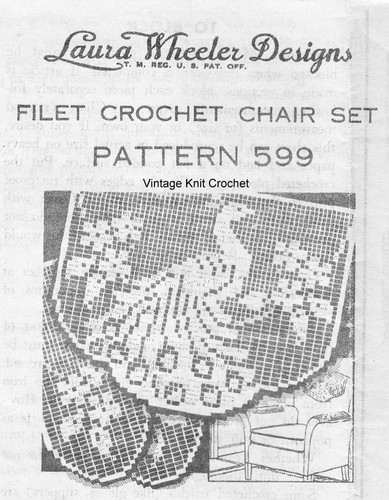 Peacock Filet Crochet Chair Set Pattern, Laura Wheeler 599