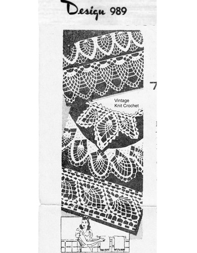 Crocheted Edgings Pattern, Pineapple Motifs, Mail Order Design 989