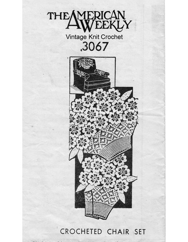 Crochet Chair Set Pattern, Flower Basket, Mail Order 3076