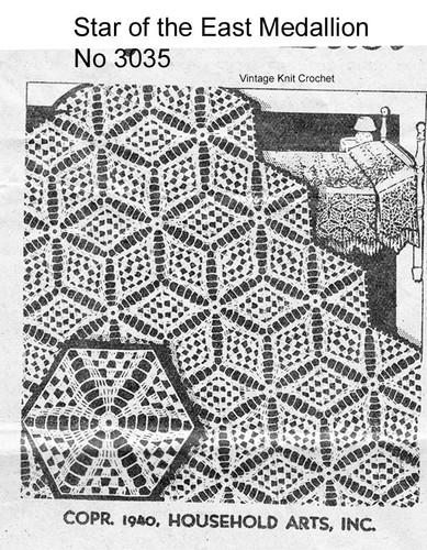 Star of the East Crocheted Medallion Pattern, American Weekly 3035