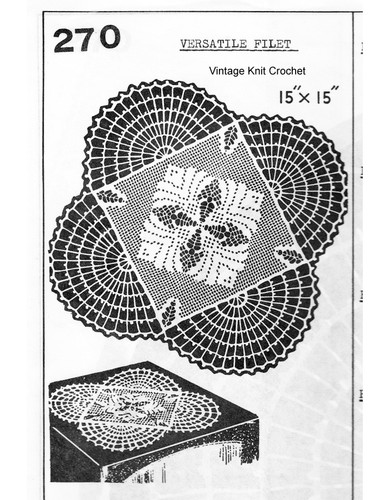 Crochet Fan Filet Doily Pattern, Mail Order 270