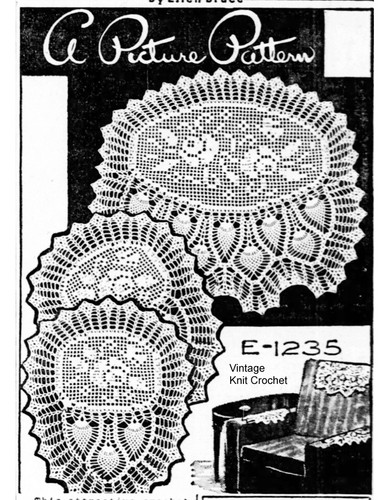 Filet Rose Chair Doily, Pineapple Border, Mail Order E-1295