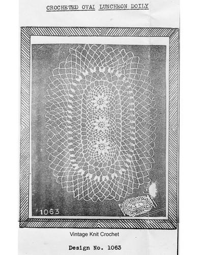 Vintage Oval Crocheted Doily Pattern, Needlework Bureau 1063