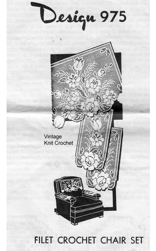 Filet Crochet Flower Chair Doily Pattern, Mail Order 975