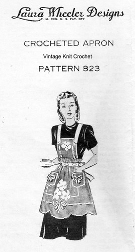 Vintage Filet Crocheted Apron Pattern, Mail Order Design 823