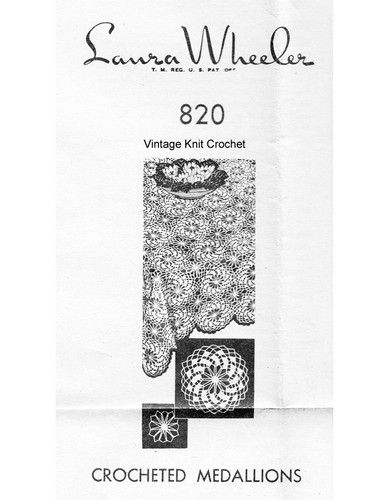 Crochet Medallion Tablecloth Pattern, Mail Order Design 820