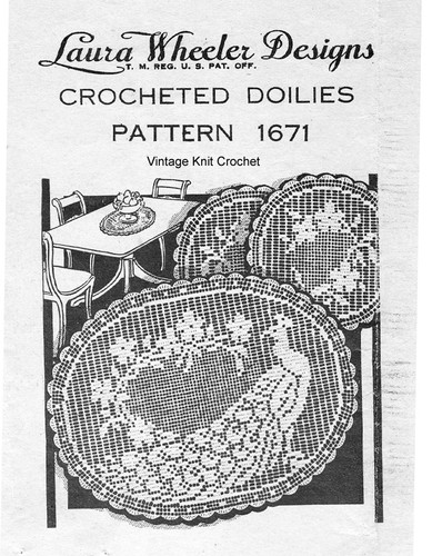 Oval Filet Crochet Peacock Doily Pattern, Mail Order 1671