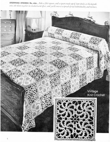 Crochet Stepping Stone Bedspread Pattern No 657