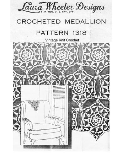 Vintage Crochet Medallion Cloth Pattern, Mail Order 1318