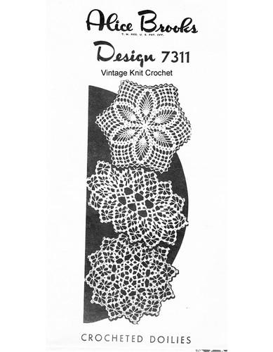 Crocheted spiderweb petal stitch doily pattern Design 7311