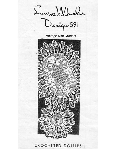 Oval Filet Crochet Doily pattern. pineapple border, Mail Order 591