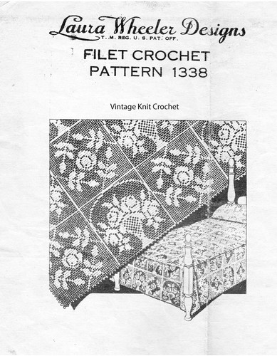 Filet Crochet Rose Squares Pattern, Laura Wheeler 1338