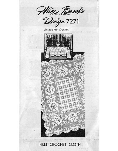 Filet Crochet Rose Tablecloth Pattern, Alice Brooks 7271