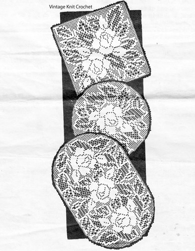 Square Filet Crochet Rose Doilies Pattern, Design 515