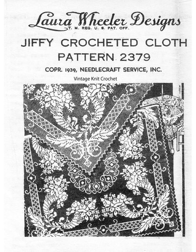Filet Crochet Cornucopia Cloth Pattern, Laura Wheeler 2379