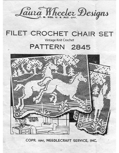 Filet Crochet Horses Chair Set Pattern, Mail Order Design 2845