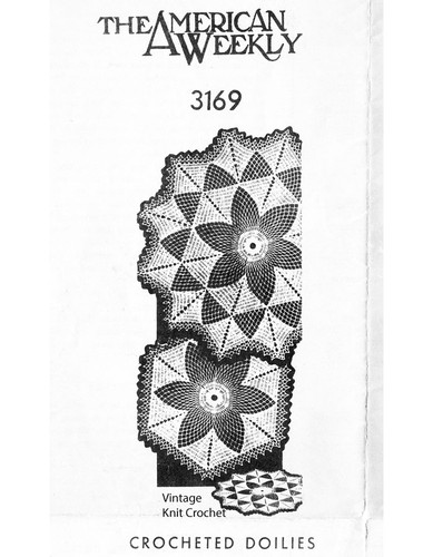 Small crochet star doily pattern, Mail Order 3169