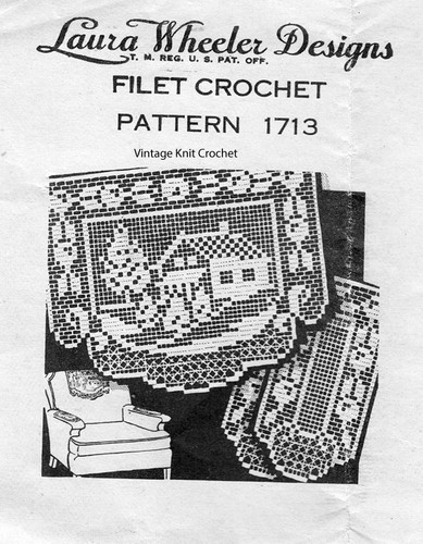 Filet Crochet House Pattern, Chair Set, Laura Wheeler 1713