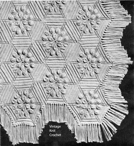 Knitted Petal Flower Bedspread Pattern