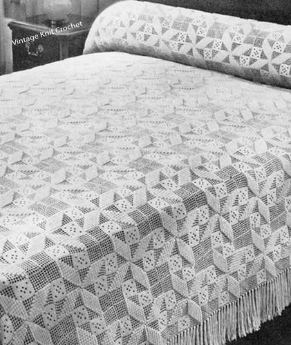 Crochet Twirl Bedspread Square Pattern, No 645
