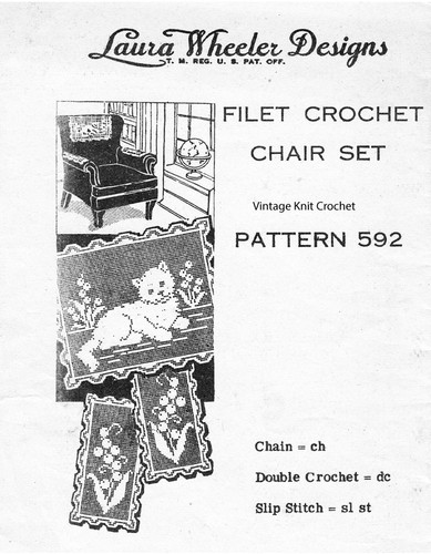 Filet Crochet Chair Set Pattern, Kitten in garden