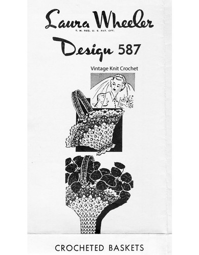 Vintage Crochet Basket Pattern Small Large, Mail Order 587
