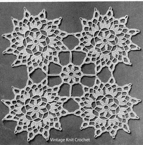 Flower Crochet Medallions Pattern, Vintage 1940