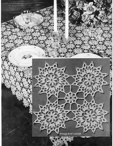 Vintage Crochet Tablecloth Pattern, Flower Medallions