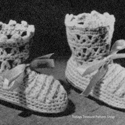 Vintage Lace Baby Booties Crochet Pattern