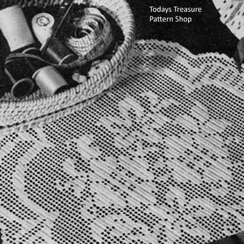 Vintage Filet Crochet Doily Pattern with Flower Motif
