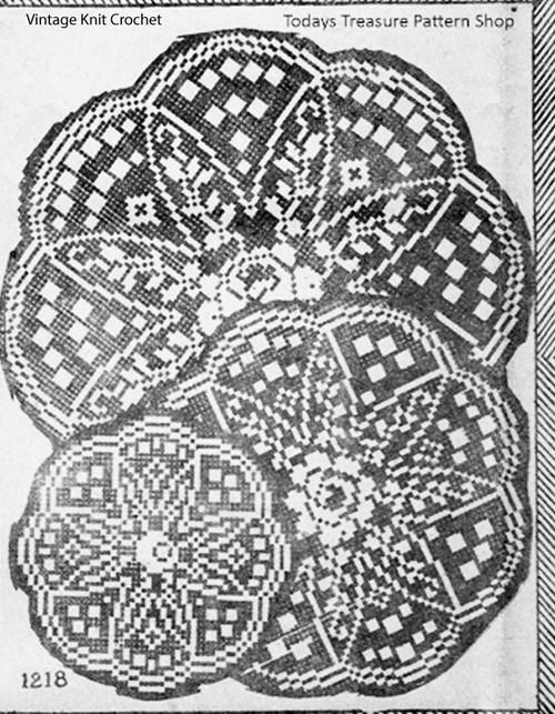 Filet Crochet Star Doily Pattern, Needlework Bureau 1218