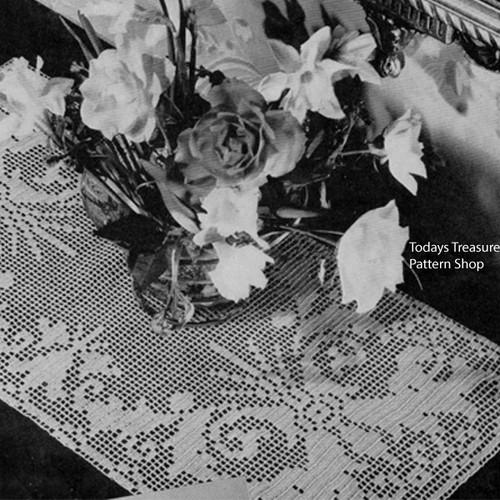 Scrolled Filet Crochet Tulip Runner Pattern