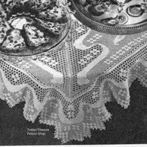 Vintage Tea Cloth in Filet Crochet pattern