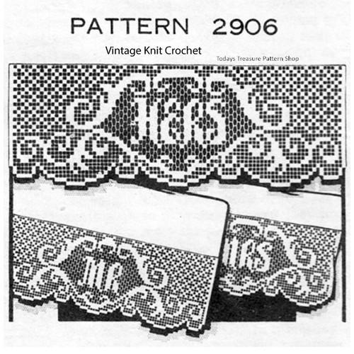 Filet Crochet Edging Pattern, His Hers, Design 2906