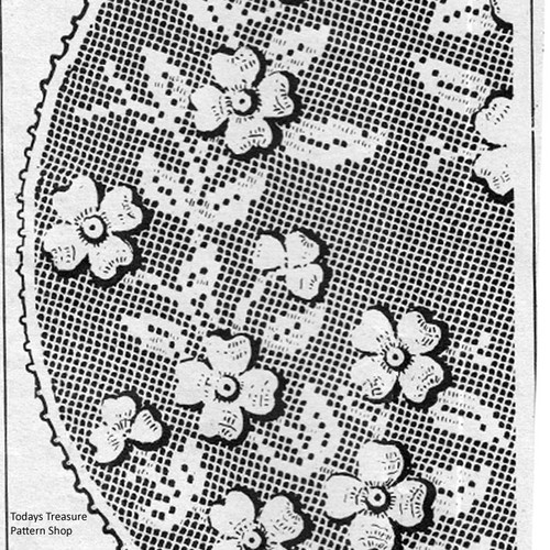 Large Dogwood Doily Pattern in Filet Crochet