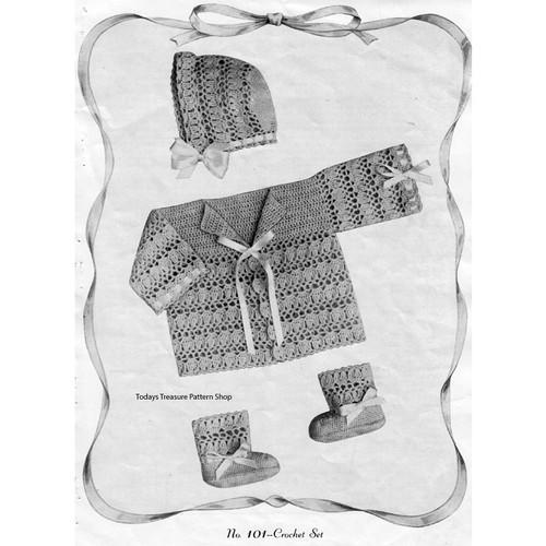 Crochet Baby Jacket Pattern, Vintage Doreen
