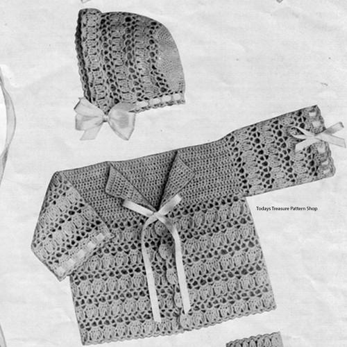 Lacy Baby Jacket Bonnet Crochet Pattern