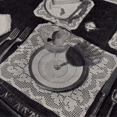 Filet Crochet Table Mats Pattern No 7563
