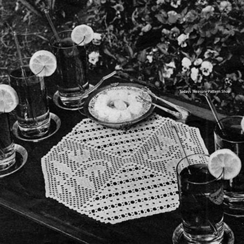 Hexagon Filet Crocheted Doily Pattern No 7567