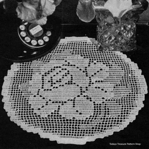 Round Filet Crocheted Rose Doily 7553