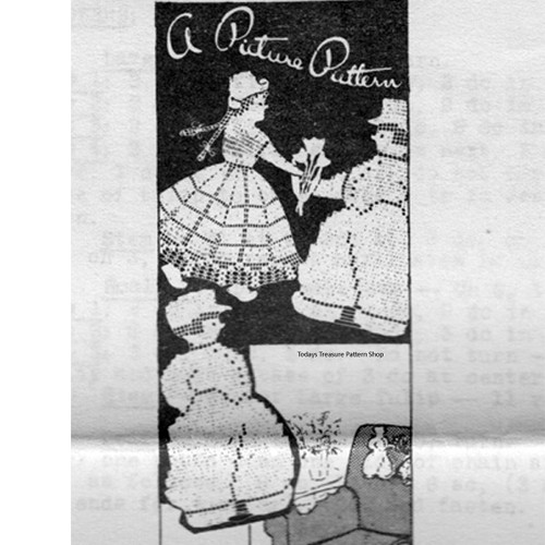 Picture Filet Crochet Pattern Dutch Boy & Girl