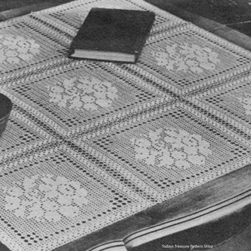 Flower Block Filet Crochet Blocks Pattern