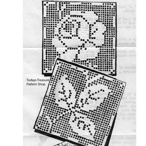 Martha Madison Filet Crocheted Rose and Leaf Tablecloth pattern