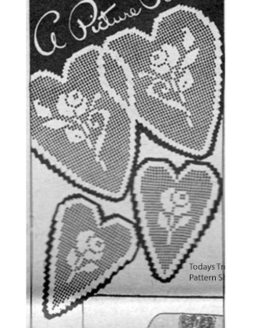 Crocheted Rose in hearts chair set pattern, Ellen Bruce E-1121