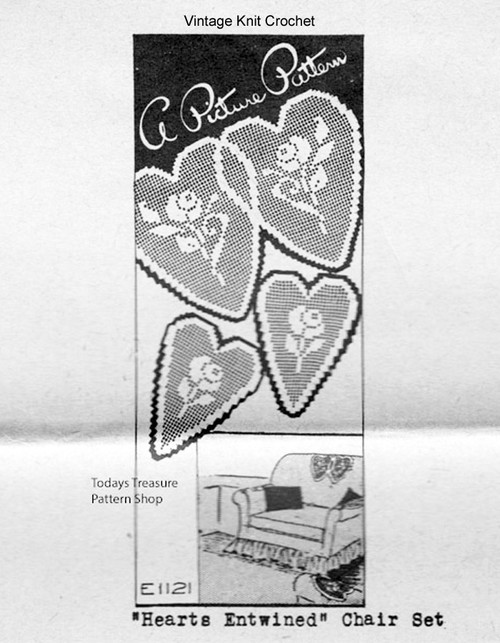 Filet Crocheted Hearts Pattern, Mail Order 1121