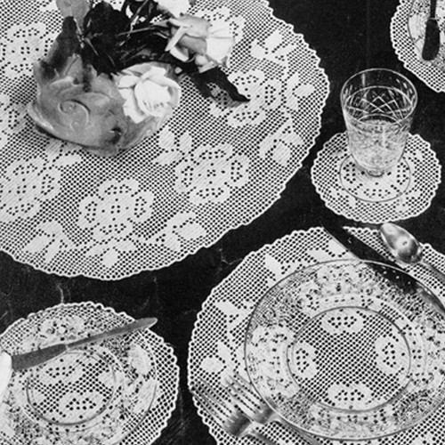 Round Rose Mats Filet Crochet Pattern